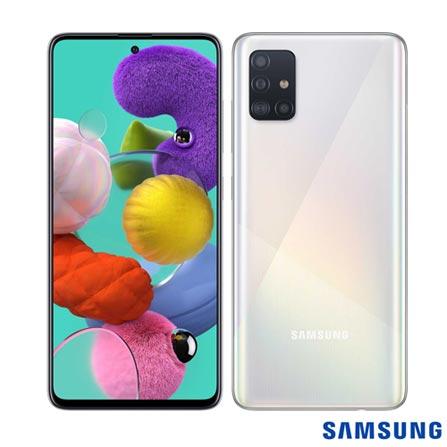 """Menor preço em Samsung Galaxy A51 Branco, com Tela Infinita de 6.5"""", 4G, 128GB e Câmera Quádrupla 48MP+12MP+5MP+5MP -SM-A515FZWBZTO"""