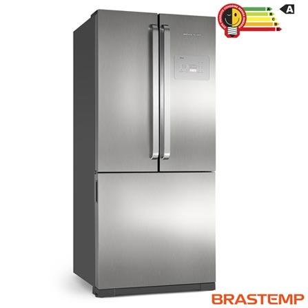 Menor preço em Refrigerador Side by Side Inverse Brastemp de 03 Portas Frost Free em Evox com 540 Litros Cor Inox e Cinza - BRO80AK