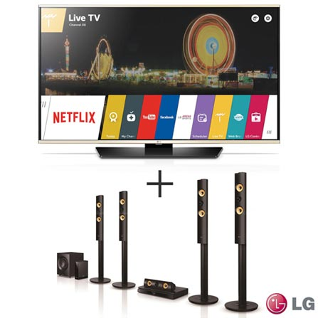 """Smart TV LED LG Full HD 49"""" com Smart Share - 49LF6350 + Home Theater LG  com Blu-ray 3D, 5.1 Canais - BH7540TW de94e21c77"""